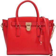 Michael Michael Kors Hamilton Large Ew Satchel bag ($385) ❤ liked on Polyvore featuring bags, handbags, red, satchel purses, satchel style purse, red satchel purse, red satchel handbag and red handbags