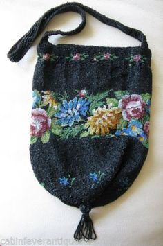 Antique-Victorian-Floral-Amber-Jet-Black-Pink-Blue-Micro-Bead-Reticule-Purse