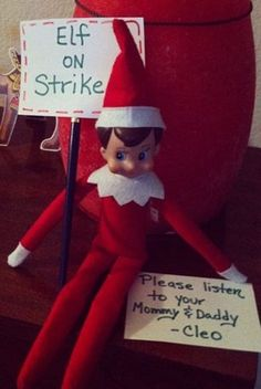 strike thumb 12 Last Minute and Free Elf on the Shelf Ideas Going to do elf on a shelf when he gets older...this on is great for bad behavior lol