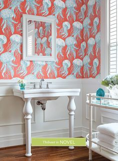 Thibaut Jelly Fish Bloom Coral and Turquoise Wallpaper Wainscoting Height, Wainscoting Nursery, Wainscoting Kitchen, Wainscoting Styles, Bathroom With Wainscotting, Black Wainscoting, Painted Wainscoting, Wainscoting Panels, Tropical Bathroom