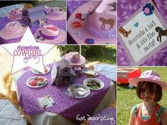 Rhinestone Cowgirl Party. Such a great idea to let the kids decorate their own hats