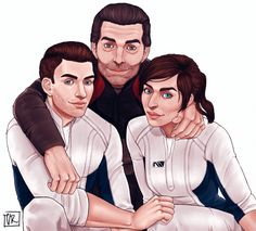 Let the feels begin~ From left to right, Scott, Alec and Sara Ryder. Mass Effect: Andromeda.