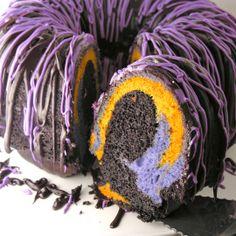 Halloween Bundt Cake: Chocolate cake, white cake. Mix orange and purple in half ea of white cake batter, layer between chocolate.