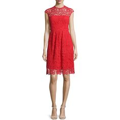 Lela Rose Cap-Sleeve Jewel-Neck Lace Dress (47.850 CZK) ❤ liked on Polyvore featuring dresses, red, scalloped lace dress, red cocktail dresses, red a line dress, scalloped dress and a line dresses