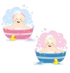 Bathing babies vector