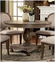 Furniture of America Siobhan Collection 48 Inch Round Dining Table with Pedestal Table Base, Bun Feet and Apron in Rustic Dark Oak Finish 48 Round Dining Table, Round Dining Room Sets, Kitchen Tables, Kitchen Nook, Breakfast Table Round, Dining Rooms, Round Farmhouse Table, Small Round Kitchen Table, Kitchen Ideas