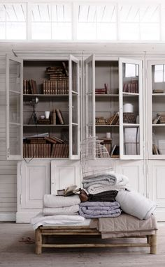 White cabinets with old books