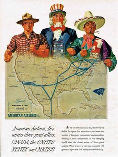 1943 American Airlines Route Map - Uncle Sam - Canada Mexico WWII (roitberg) Tags: world 2 two vintage war propaganda wwii guerra second mundial segunda adverstising Vintage Advertisements, Vintage Ads, Ww2 Propaganda, Ww2 Posters, Interesting History, Vintage Travel Posters, Print Ads, World War Two, Old Pictures