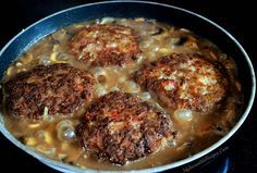 Southern Hamburger Steaks with Onion Mushroom Gravy! ❣Julianne McPeters❣ no pin limits