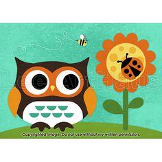 65B Bright Owl and Ladybug 5x7 Print от leearthaus на Etsy, $15.00