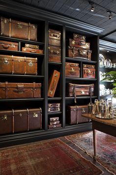 Dorian Ward Trading Co., 35 Christopher Street New York, NY 10014 Vintage Suitcases, Vintage Luggage, Living Colors, Casa Loft, British Colonial Style, Concept Shop, Grand Homes, Interior Decorating, Interior Design