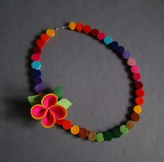 Felt necklace rainbow multicolor beads by IfffkaDesign on Etsy Felt Diy, Handmade Felt, Felt Crafts, Felt Necklace, Fabric Necklace, Textile Jewelry, Fabric Jewelry, Stone Wrapping, Fabric Beads
