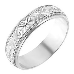 9ct White Gold 5mm Crossover Patterned Wedding Ring Product Number 2638541