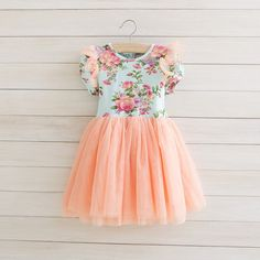 Peach Aqua Toddler Girls Tutu Dress, Vintage Toddler Girl Dress, Flower Girl Dress, Dress Outfit, Birthday Dress,Rustic Beach Wedding...