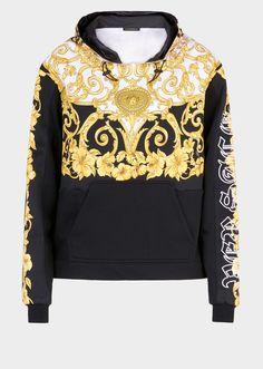 Versace Gold Hibiscus Print Hoodie for Women Madrid, Best Shopping Sites, Hooded Sweatshirts, Hoodies, Simply Fashion, Mode Vintage, Black Hoodie, Mens Fashion, Hibiscus