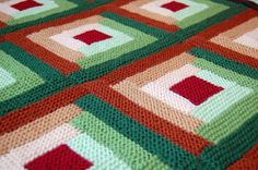 Log Cabin Afghan Pattern by Cottage Creations