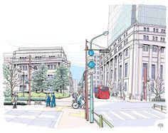 中央区のコミュニティバス。 真っ赤なボディに「百円」小判を持つ猫の絵がプリントされている。江戸の中心街をめぐる北循環ルートに東京駅から乗ると、じきに重厚でクラシカルなたたずまいのビジネス街に遭遇する。1本向こうには、三越本店やコレド室町などが面する賑やかな日本橋中央通りが走っている。
