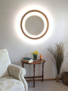 Wooden Circle of Light Wall Lamp Fixture Mood Light LED