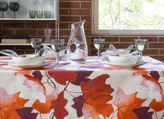 Vaahtera Table Cloth  | Pentik Autumn 2017 | Designed by Minna Niskakangas, Vaahtera (Maple) pattern captures the strong and impressive autumn glow. Vaahtera charms in yellow and orange colours. Made of 100 % cotton, the size of this table cloth is 145x250 cm.