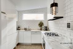 Clifton Hill kitchen with white subway tiles. I love polished concrete flooring! Polished Concrete Flooring, Clifton Hill, White Subway Tiles, Real Estate Photography, Double Vanity, Kitchens, Kitchen Cabinets, Creative, Home Decor
