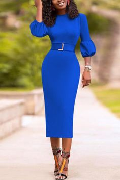 Royal Blue Fashion Hubble-Bubble Sleeve Long Sleeve O Neck Mid Calf Solid Dresses (Without Belt) Wine Red Dress, Hot Dress, Jumpsuit Dress, Belted Dress, Dress Skirt, Bodycon Dress, Orange Fashion, White Fashion, Blue Fashion