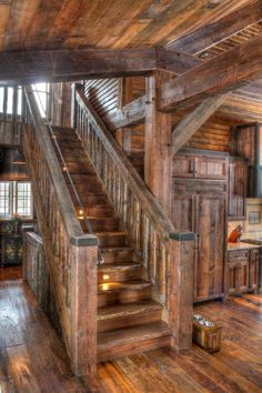 Hardwood stairs ideas stairways home 29 ideas for 2019 Rustic Stairs, Wooden Stairs, Rustic Wood, Timber Staircase, Hardwood Stairs, Timber Frame Homes, Timber House, Timber Frames, Log Home Decorating