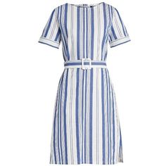 A.P.C. Naxos striped cotton dress (10.385 RUB) ❤ liked on Polyvore featuring dresses, blue white, blue and white stripe dress, blue white stripe dress, short cotton dress, cotton stripe dress and cotton dresses