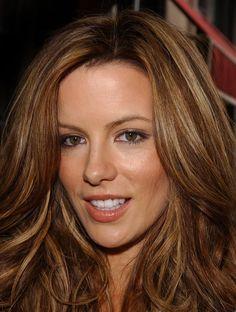 hair color Carmel highlites warm brown color.