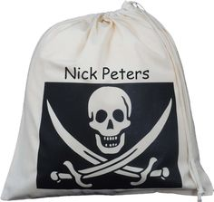 Personalised Pirate Jolly Roger Large Drawstring Bag