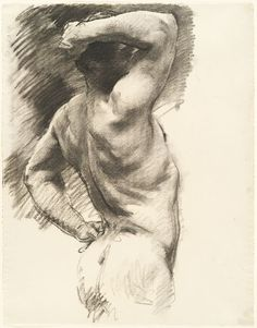 'Male Nude Seen from Behind, Arm Raised Over Head' by John Singer Sargent. Harvard Art Museums.