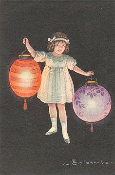 vintage postcards with asian lanterns - Google Search