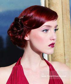 ANNE Veck HAIR Mittel Rot weiblich Farbige Wellig Hochzeits Hochzeitshochsteckfrisur Frauen Frisuren hairstyles