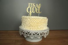 This custom cake topper is made out of high quality glitter paper. The glitter is both on the front and back. Picks are attached for easy insert