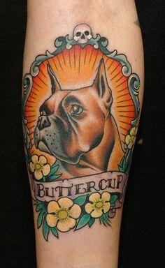 boxer dog tattoo design