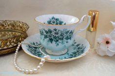 Royal Albert Melody serie-Nocturne teacup y platillo set, c. 1960