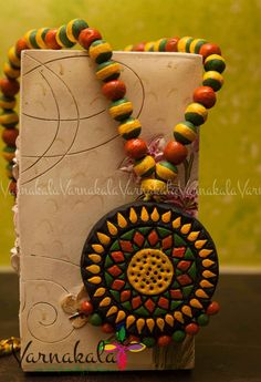 YELLOW GREEN & ORANGE Floral Terracotta jewelry  hand by Varnakala