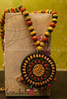 YELLOW GREEN & ORANGE Floral Terracotta jewelry hand by Varnakala