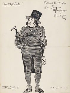 "Rutland Barrington as Sir Despard (Act Two) in the original DOC production of ""Ruddigore"" at the Savoy Theater in 1887; pen and ink drawing by Fred Roe; signed and dated 1908 (""1908"" date possibly added at a different time than the signature?). From the National Portrait Gallery; estate of painter Fred Roe."