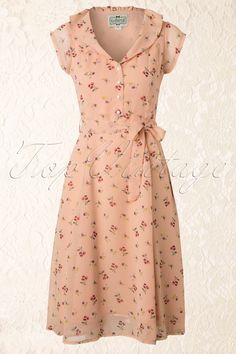 Collectif Clothing - 50s Violet Floral Cherry Dress in Pink