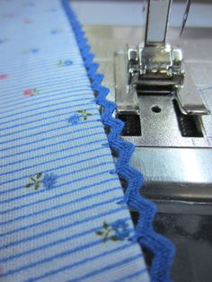 Floating Rickrack Sewing Technique -- An easy way to add rick rack as an edging or insertion using the blind hem stitch. This would a quick embellishment for sleeve edges and hems.