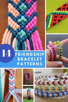 Easy friendship bracelet patterns - DIY crafts for summer! Here are 14 friendship bracelet tutorials for you to make. These are great craft projects for beginners and a wonderful way to get that retro style. Learn how to make friendship bracelets Bracelet Fil, Bracelet Crafts, Macrame Bracelets, Macrame Knots, Loom Bracelets, Micro Macrame, String Bracelets, Diy Embroidery Bracelets, Summer Bracelets
