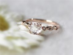 Elegant Diamond Morganite Engagement Ring 14K Rose Gold with Morganite solitaire and diamonds Round Ring