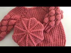 Boina Bola - YouTube Bonnet Crochet, Crochet Baby Dress Pattern, Baby Girl Crochet, Crochet Baby Clothes, Crochet Baby Hats, Pull Crochet, Crochet Cap, Love Crochet, Baby Hats Knitting