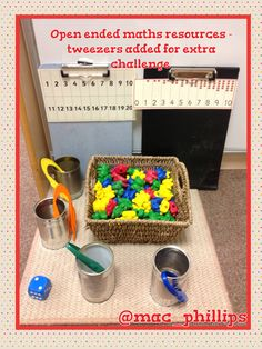Number tracks, bears, tweezers, dice, tin cans - open ended play! Chn like to roll the dice and collect that number of bears in a tin can or place on a track. Race to fill up or race to remove