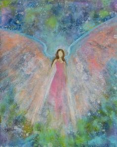 Original Acrylic Painting Healing Energy Angel by Breten Bryden, Intuitive Angel Artist     BrydenArt.com
