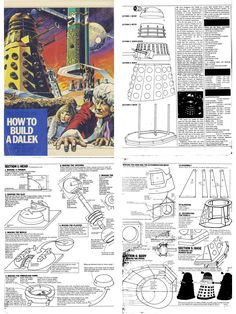 Apparently if you wrote to the BBC in the late or early wanting to know how to build your own Dalek, they sent you this fantastic set of official plans, which are now preserved for posterity in the cloud-mind at Tom Rathborne's site.