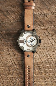 DIESEL® Little Daddy Chronograph Leather Strap Watch, 51mm | Nordstrom