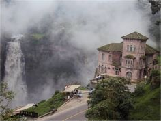El Hotel del Salto in Columbia. This hotel is situated on the cliff and it is facing a waterfall. Visitors are highly attracted due to the scenic view of this hotel.