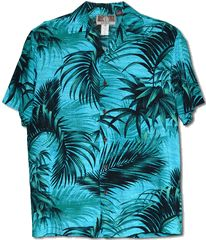 Palm Fronds Kalaheo by RJC Single Pocket Classic Hawaiian Button Front Casual Tropical Shirt