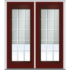 Milliken Millwork 66 in. x 81.75 in. Classic Clear RLB GBG Low E Glass Full Lite Painted Majestic Steel Exterior Double Door, Red